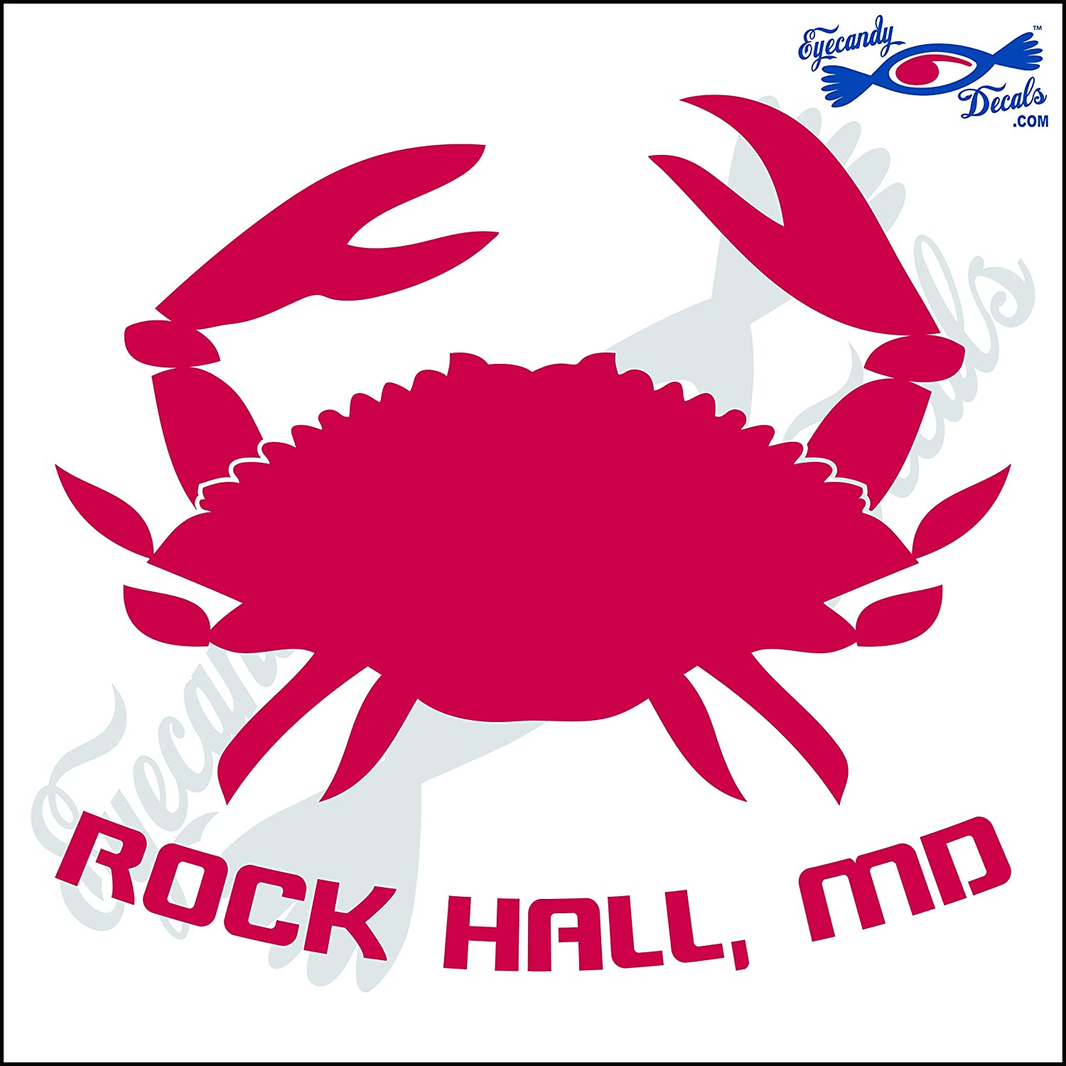Amazon com eyecandy decals crab with rockhall maryland 6 inch decal red automotive