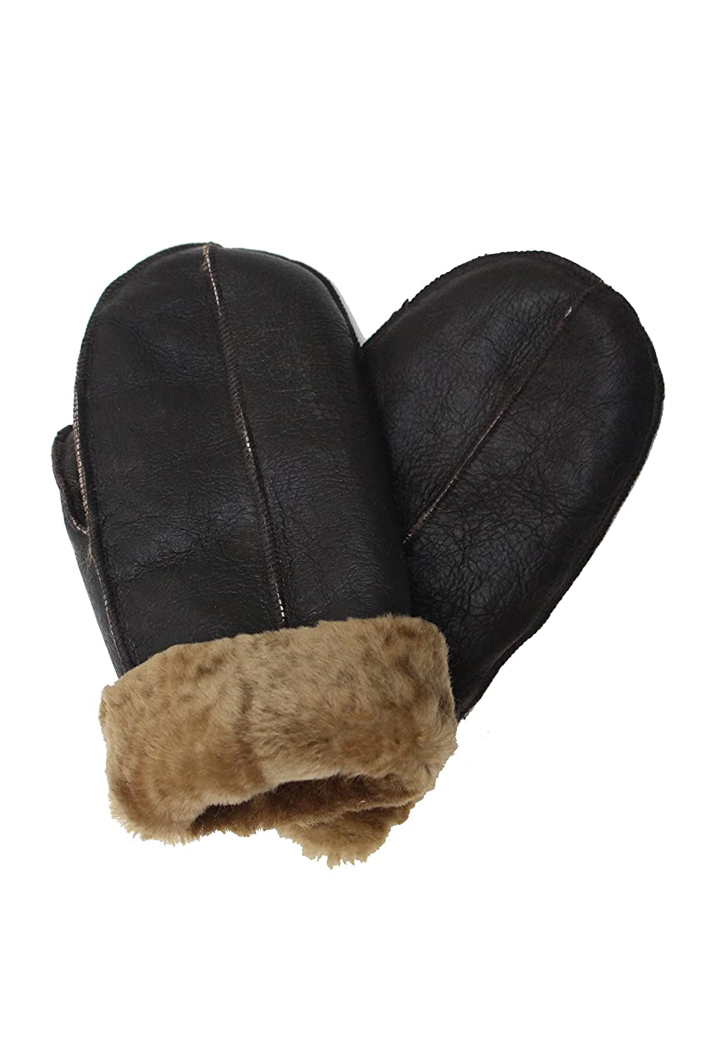 A to Z Leather - Guantes - para hombre marrón Dark Brown With Ginger Fur Medium