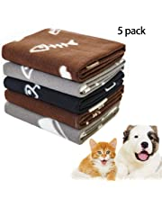 "Pet Dog Blanket, 5 Pack Mixed Paw Print Cat Sleep Bed Cover Polar Fleece Throw,24""×28"""