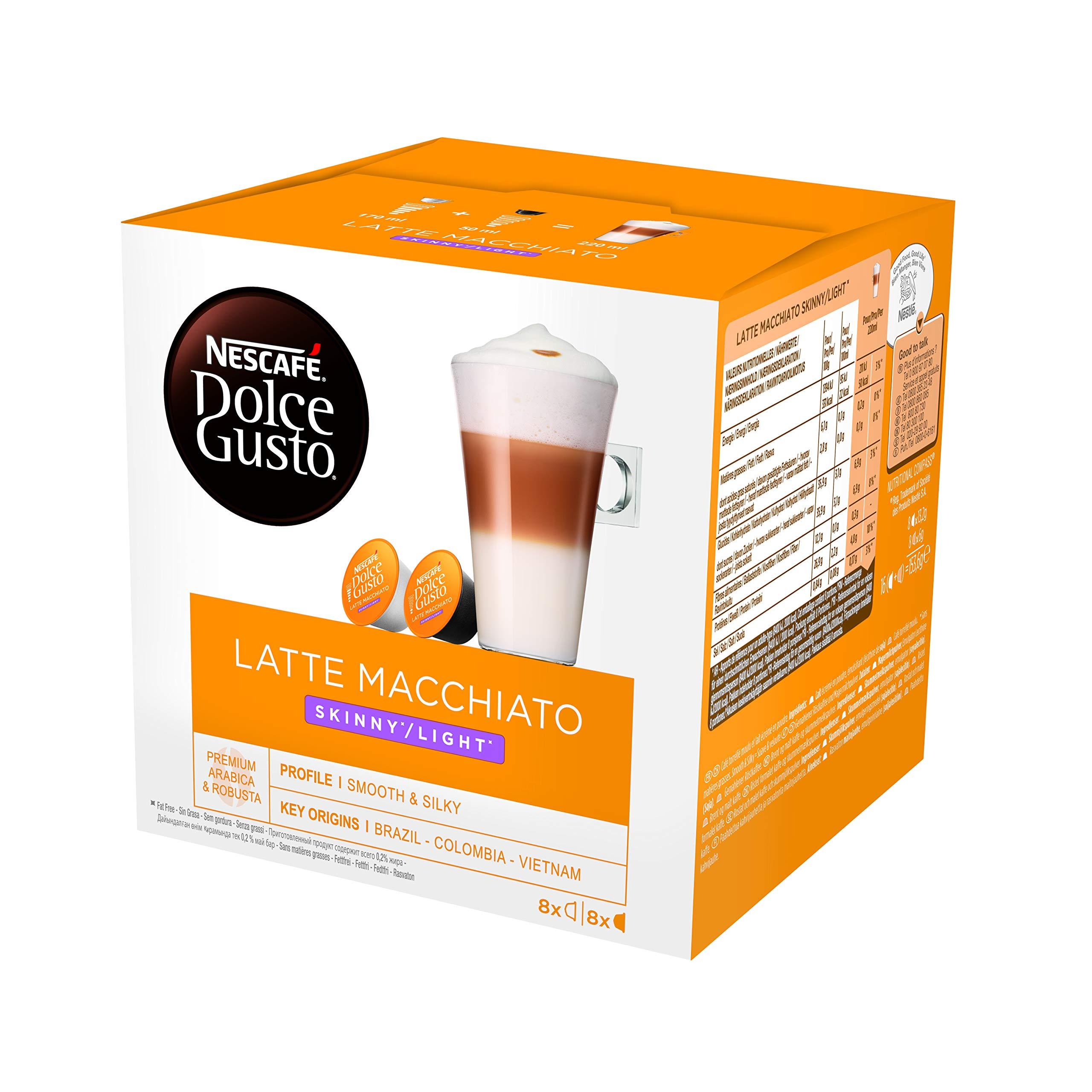 NESCAFÉ Dolce Gusto Skinny Latte Macchiato Coffee Pods, 16 Capsules (Pack of 3, Total 48 Capsules, 24 Servings)