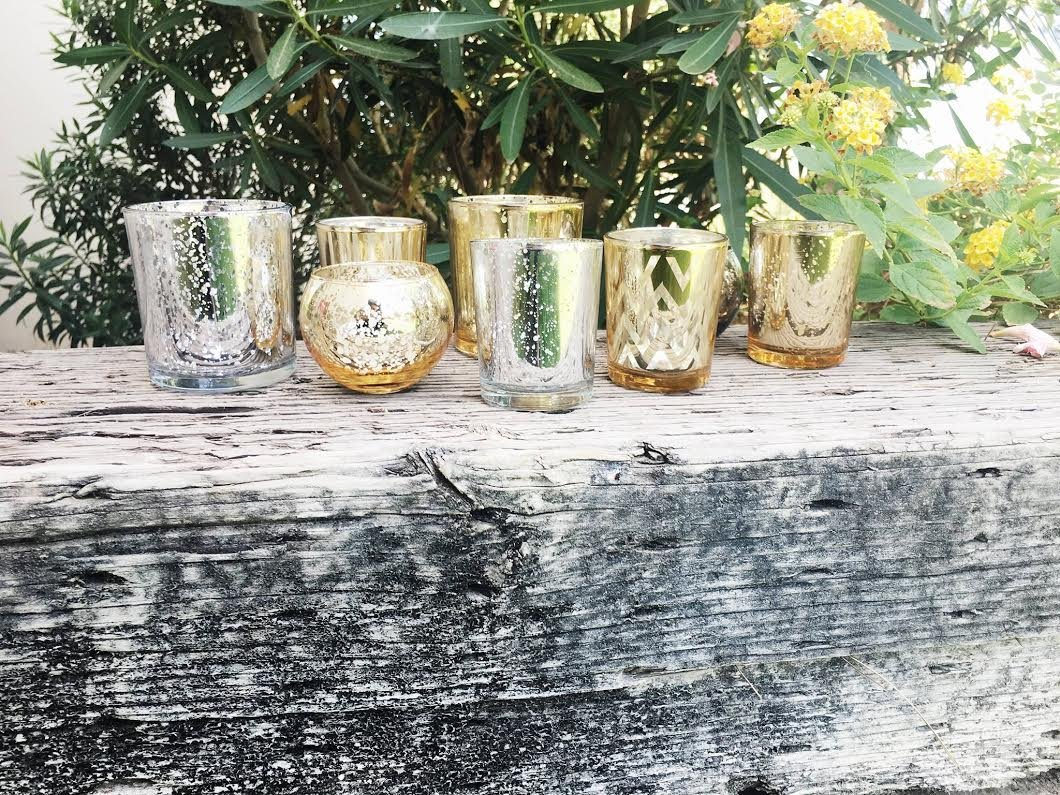 Assorted Silver & Gold Mercury Glass Votive Tealight Candle Holders Set of 8