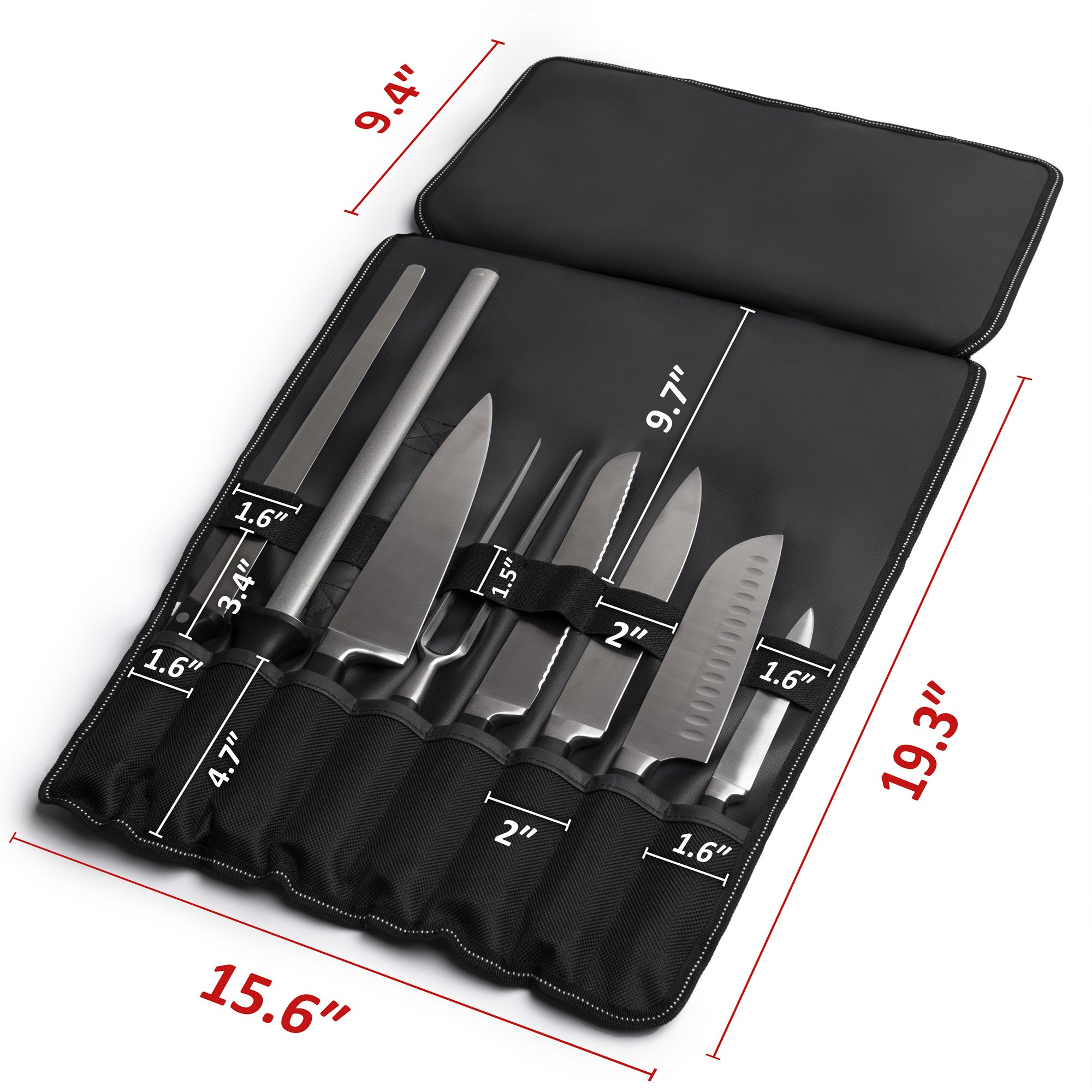 Chef Knife Bag (8 slots) – Durable and Waterproof Culinary Roll Case Utensil With Shoulder Strap and Holder – Knives Organizer For Chefs and Students + eBook Bonus + Extra-Warranty by 1stqual by 1stqual (Image #2)
