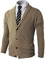H2H Mens Basic Shawl Collar Knitted Slim Fit Cardigan Sweaters with Ribbing Edge