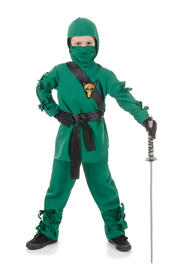 Underwraps Wolf Ninja Kids Costume, Green