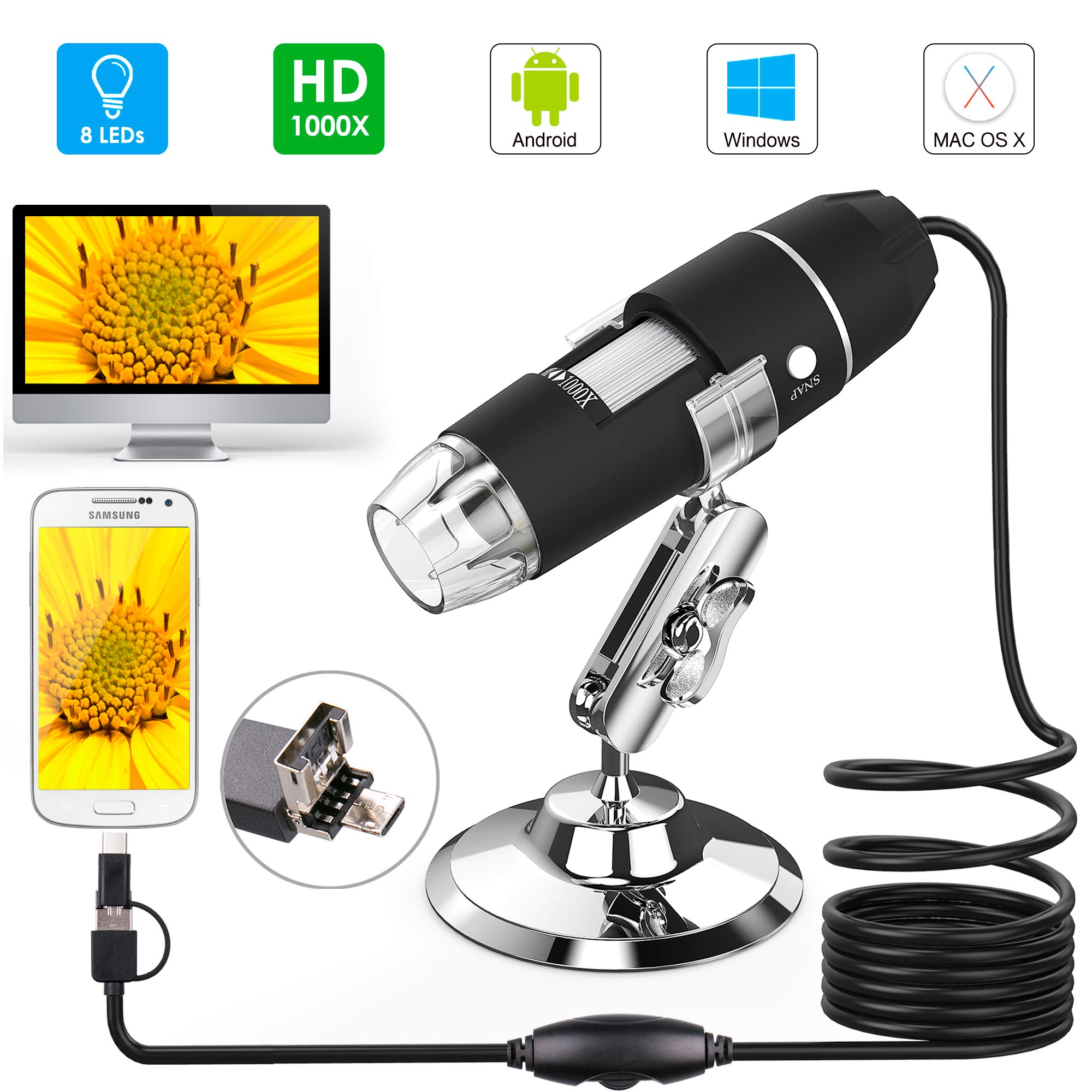 USB Microscope, Splaks 1000x High Power USB Digital Microscope 3 in 1 PCB Microscope Camera with 8 Led Lights and Microscope Stand for Kids Compatible with Windows, Android and Mac by Splaks