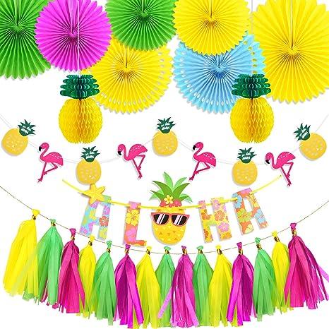 Amazon.com: SAYAYA - Juego de guirnalda de flores de piña y ...