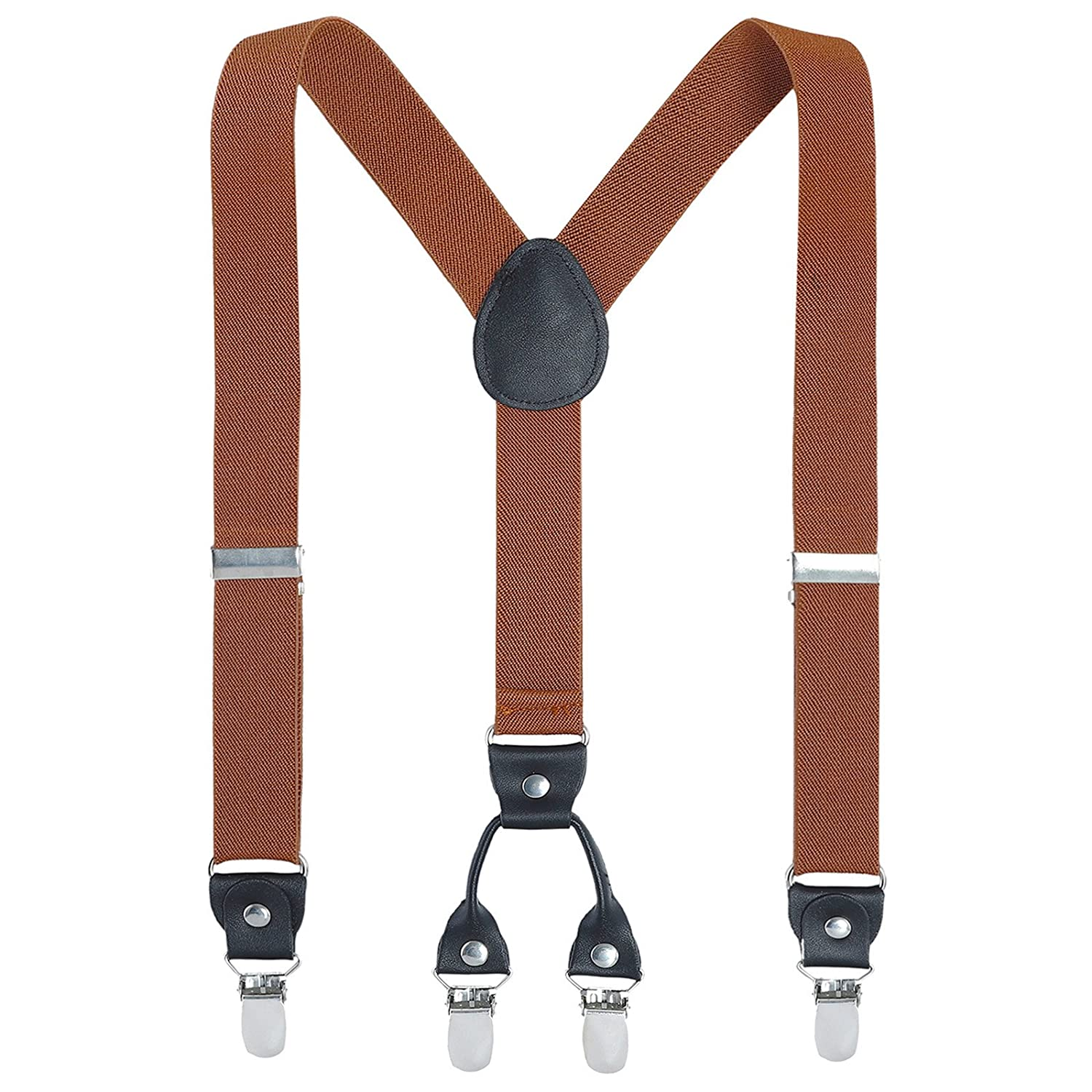 Boys Men Adult Kids Suspenders - Adjustable Elastic Solid Color Genuine Leather 1 Inch Wide