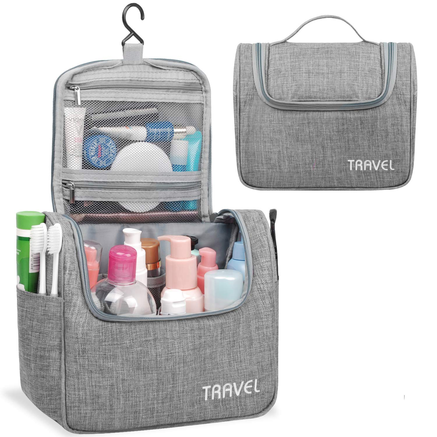 Hanging Toiletry Bag Travel Cosmetic Organizer Shower Bathroom Bag for Men Women Water-resistant Light Grey