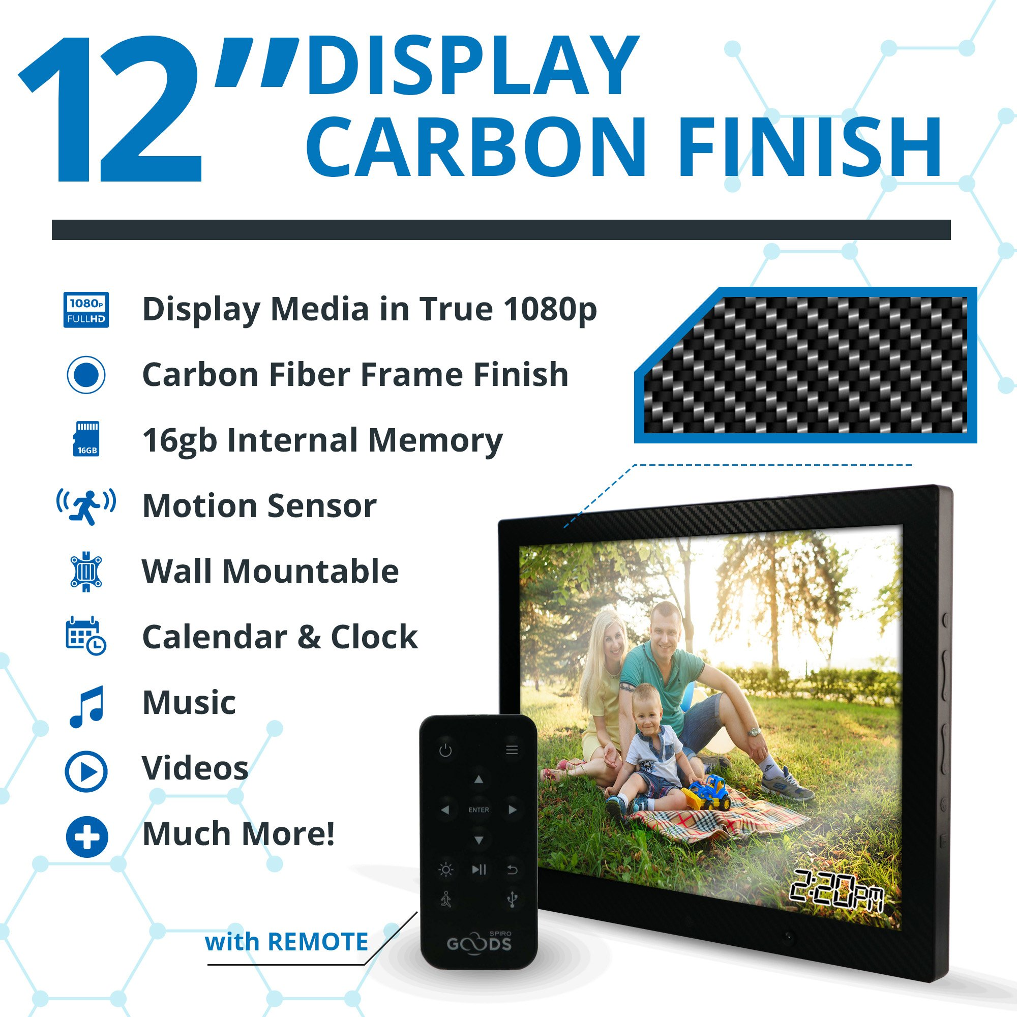 12 inch HD Digital Picture Frame Carbon Fiber - 1080p High Definition Electronic Photo Frame With Video, 16GB Memory, Motion Sensor, Built-In Speakers & Remote Control - (Black) by Spiro Goods (Image #3)