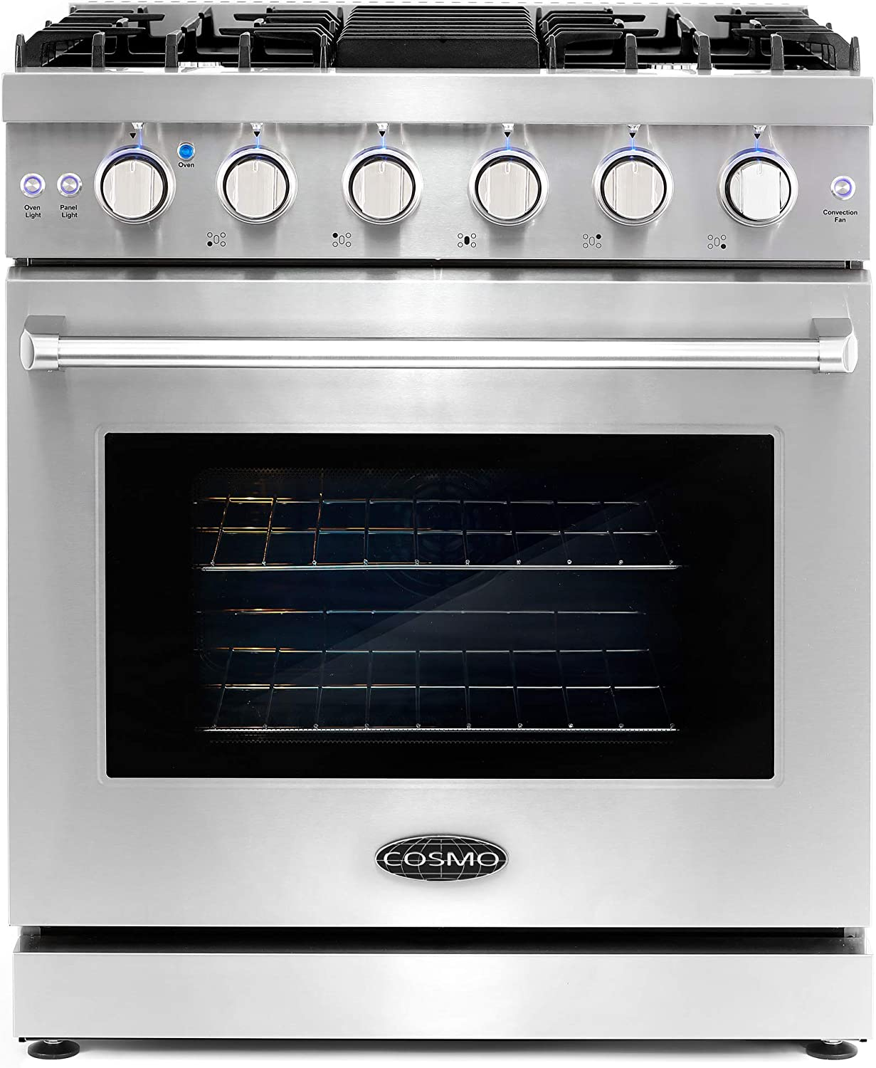 Cosmo COS-EPGR304 30 in. Slide-In Freestanding Gas Range with 5 Italian Burners, Cast Iron Grates and 4.5 cu. ft. Capacity Convection Oven in Stainless Steel