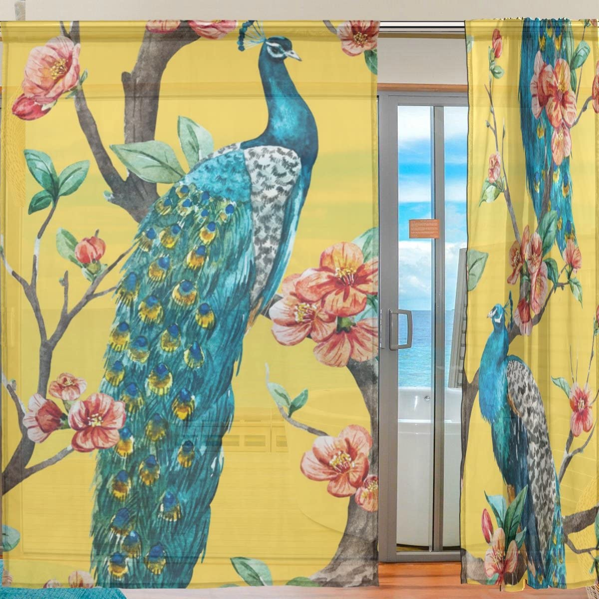 SEULIFE Window Sheer Curtain Tropical Flower Animal Peacock Tree Voile Curtain Drapes for Door Kitchen Living Room Bedroom 55×84 inches 2 Panels