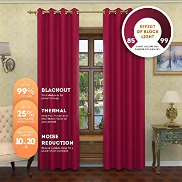 Amazon.com: Nicole - Solid Thermal Insulated Curtains   Premium ...