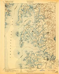 YellowMaps Choptank MD topo map, 1:125000 Scale, 30 X 30 Minute, Historical, 1908, Updated 1918, 19.8 x 15.9 in