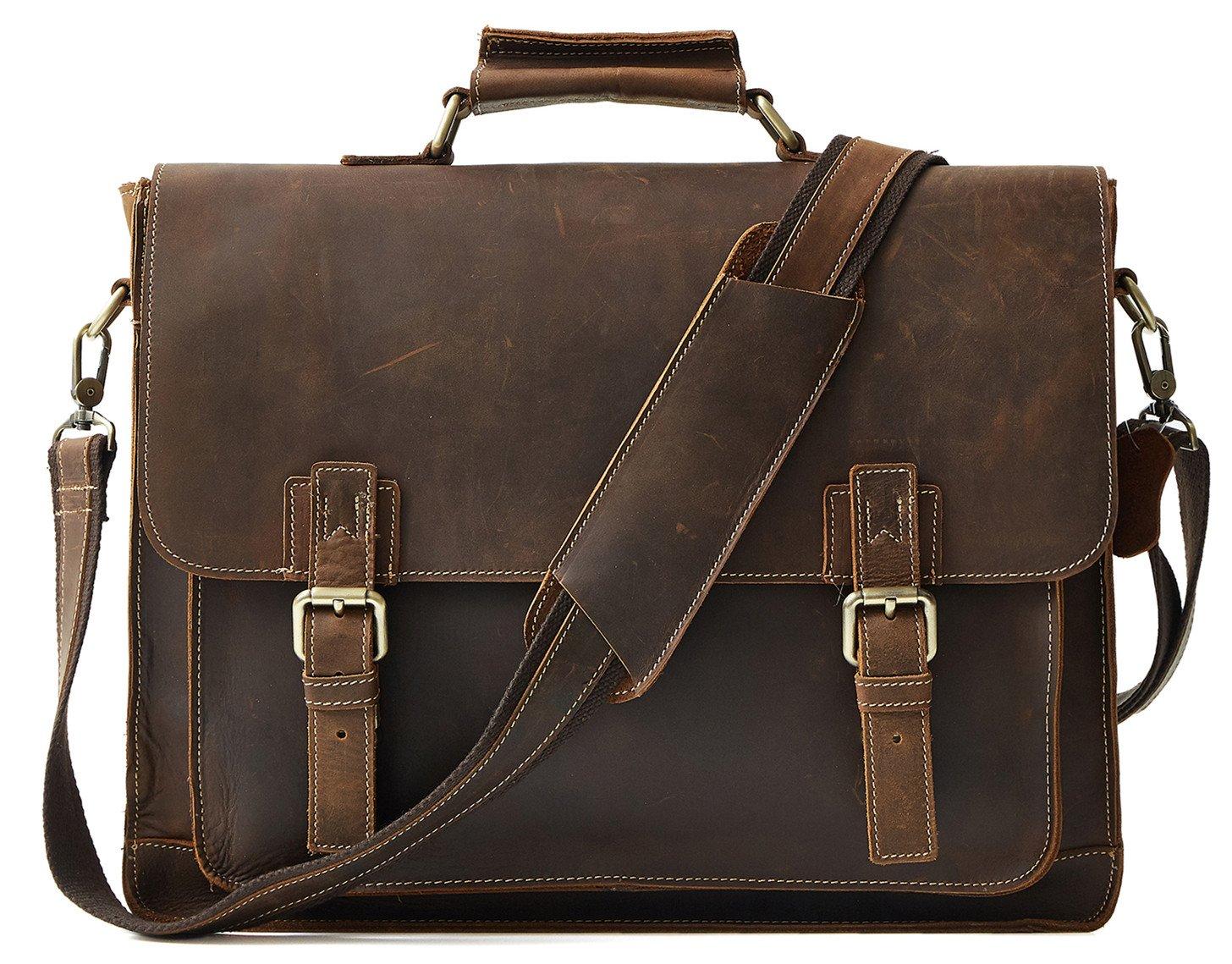 LXFF Mens Genuine Leather Briefcase Messenger Bag 16'' Laptop Tote Bag Vintage Brown