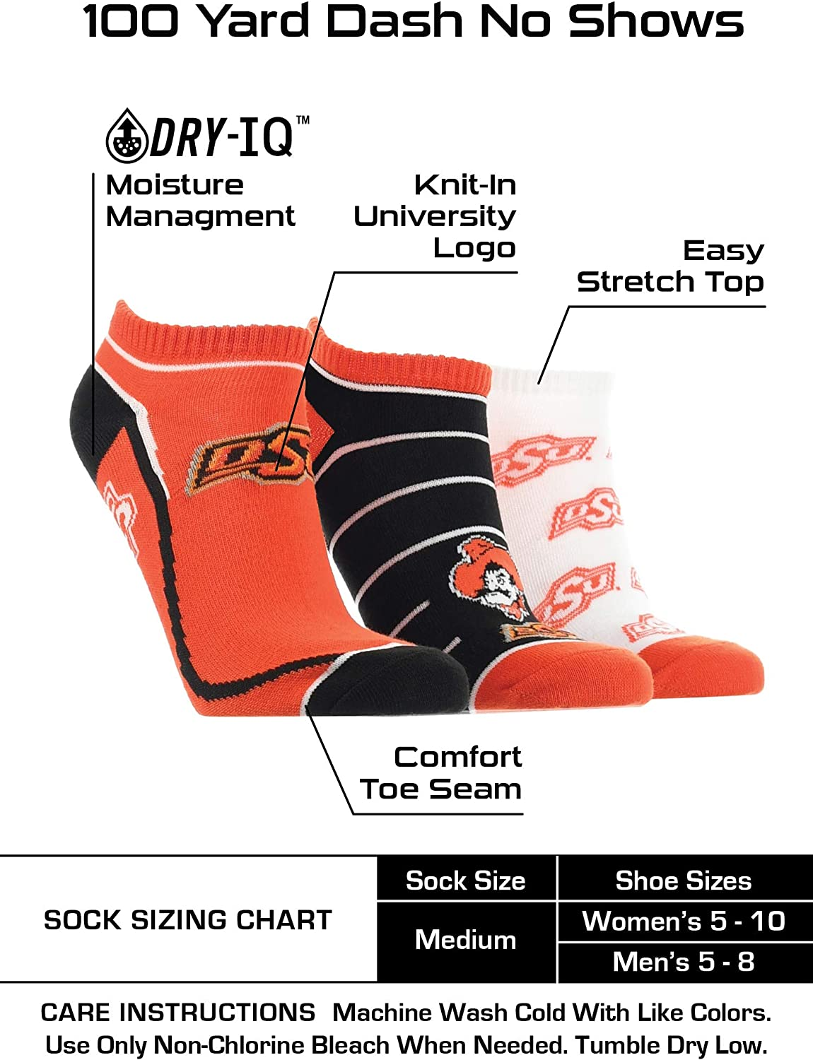 TCK Oklahoma State Cowboys No Show Socks Full Field 3 Pack