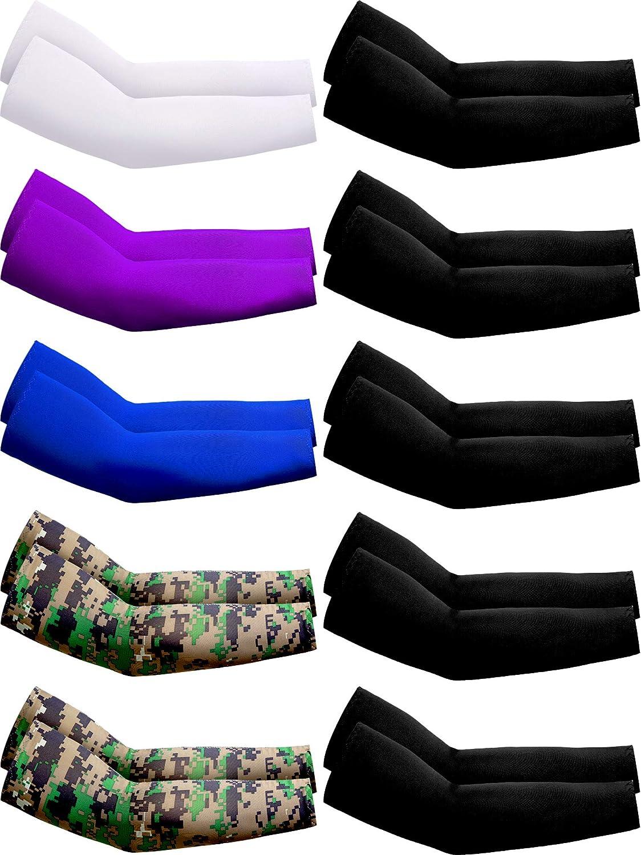 SATINIOR 10 Pairs UV Protection Cooling Arm Sleeves Anti-Slip Sun Protection Arm Sleeves Ice Silk Arm Covers (White, Purple, Dark Blue, Camo, Black)