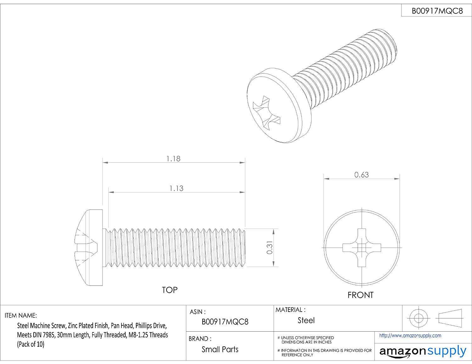 Steel Machine Screw Pan Head M8-1.25 Metric Coarse Threads Zinc Plated Finish Small Parts M830D7985A 30mm Length Meets DIN 7985 Phillips Drive Pack of 10 Fully Threaded