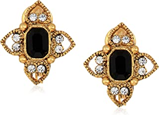 product image for 1928 Jewelry Women's Silver Tone Black Rectangle Crystal Floral Clip Earrings, Black, One Size
