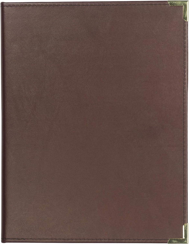 Samsill Classic Collection Business Padfolio/Executive Portfolio, Faux Leather & Brass Corners, Resume Document Organizer, 8.5 x 11 Writing Pad, Burgundy