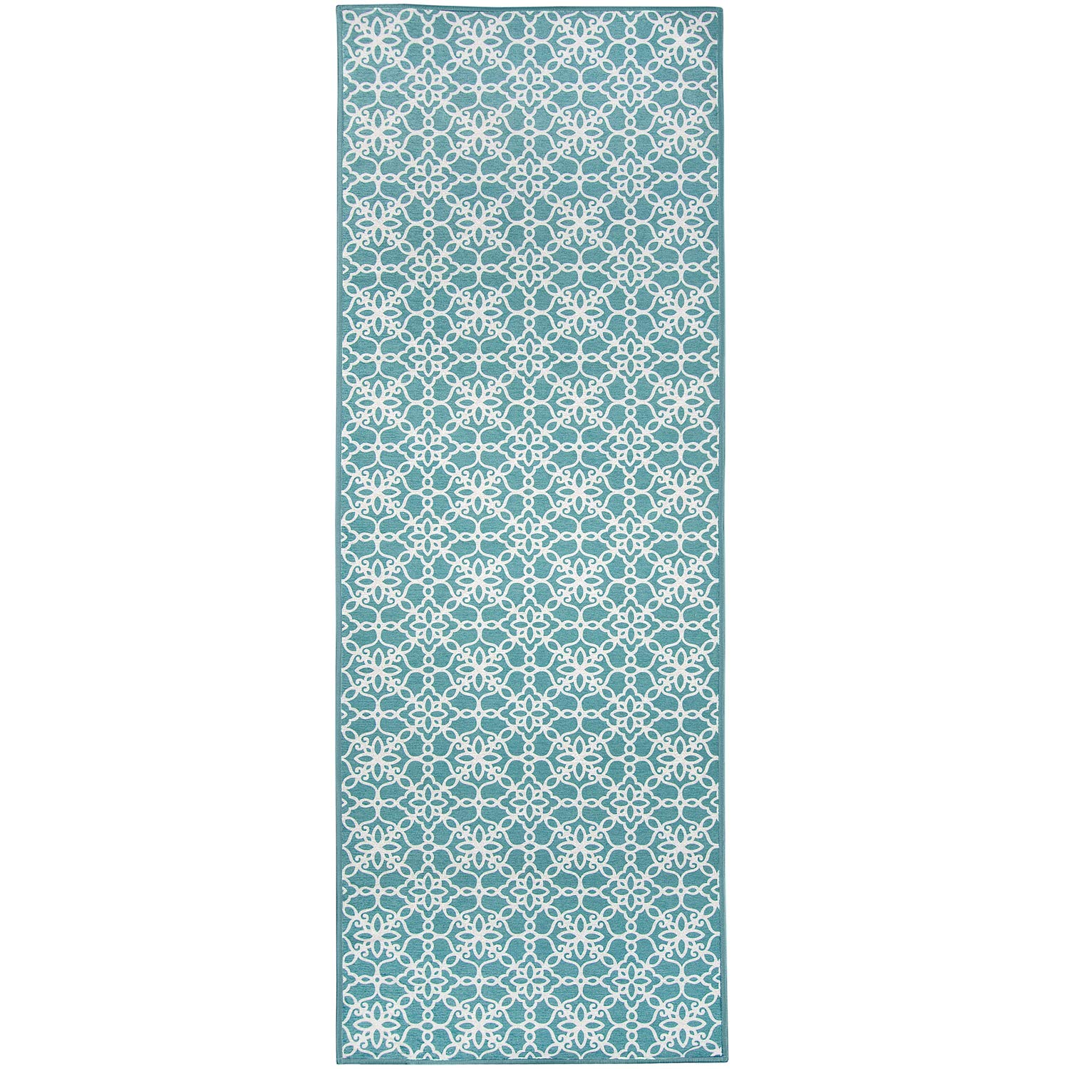 RUGGABLE Washable Stain Resistant Pet Dog Runner Rug for Indoor/Outdoor - Floral Tiles Aqua Blue 2.5' x 7' Runner Rug Set