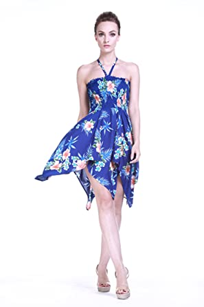 Tropical Group Womens Hawaiian Gypsy Fairy Uneven Bottom Dress Hibiscus Blue