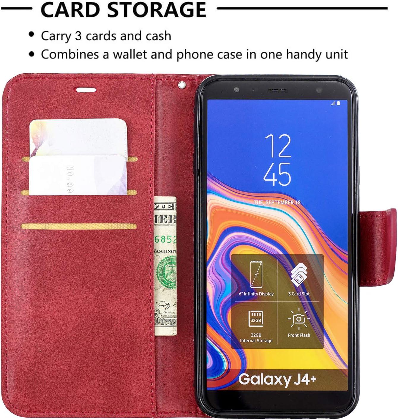 J4 Plus J4Plus - LOBFE150146 Rosso Custodia Portafoglio a Libro Pelle Porta Carte Chiusura Magnetica Antiurto Leather Wallet Case per Samsung Galaxy J4+ Lomogo Flip Cover Samsung Galaxy J4+