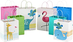 "Hallmark Paper Gift Bags Assortment - Pack of 8 in Pink, Blue, Flamingos, Whales, Giraffes for Kids Birthdays or Baby Showers (4 Medium 10"", 4 Large 13"")"