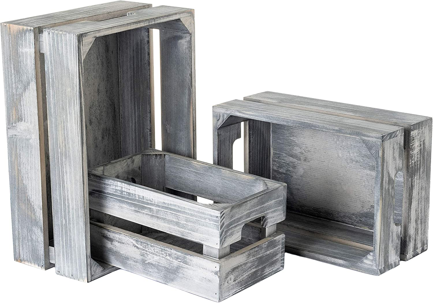 Strova Gray Nesting Wood Crates, Set of 3, Farmhouse Home Decor and Kitchen and Living Room Storage Organizers, Store Dried Food Goods, Supplies, Vinyl LP Records or Books
