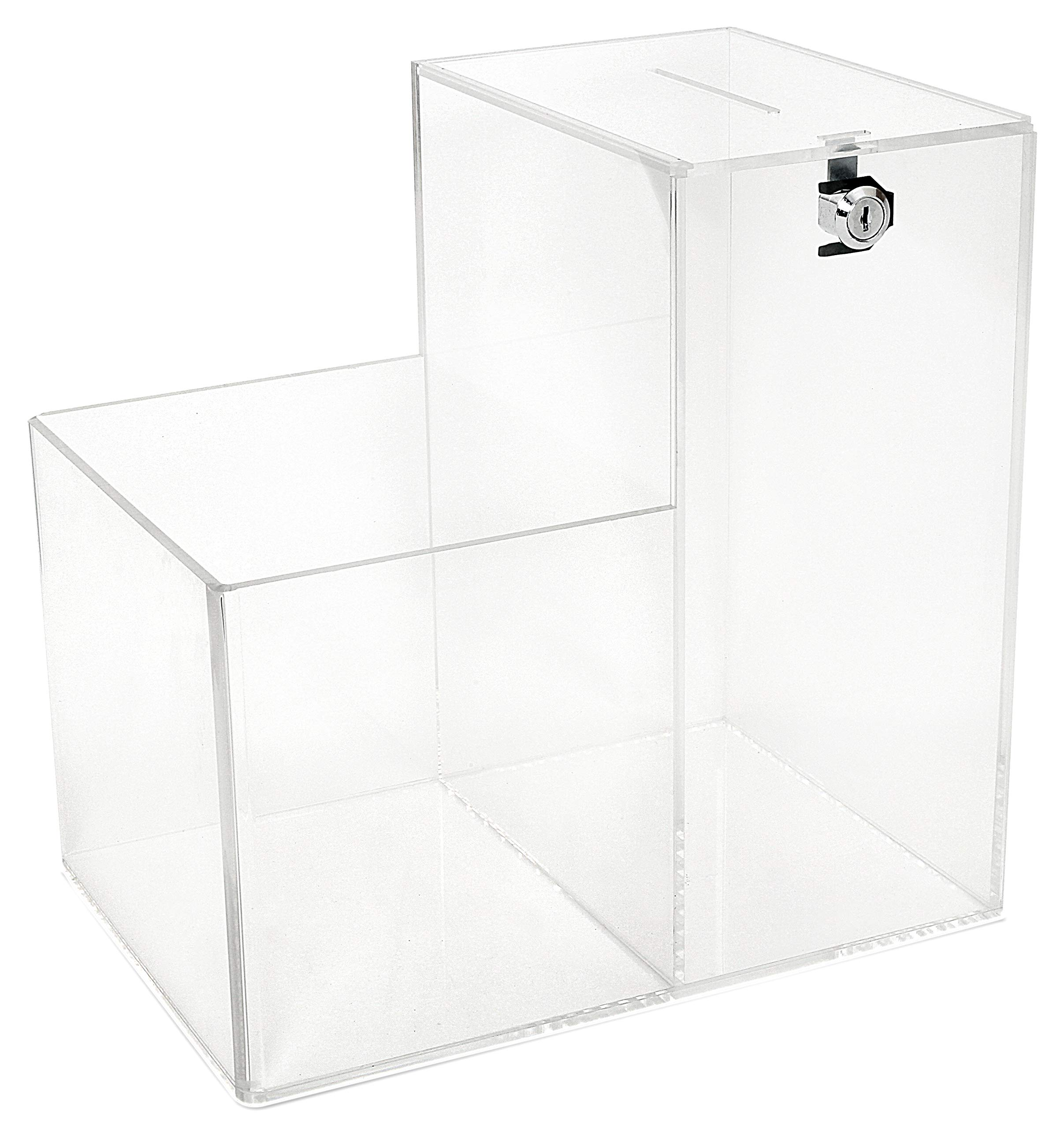 Deluxe Charity Donation Collection Box for Fundraising Campaigns - with Two Compartments for Give Money Locked and Take a Prize Open - Great for Suggestion Box or Tip Container (Large) by My Charity Boxes