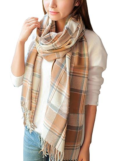 9ea020e4b0f Wander Agio Women's Fashion Long Shawl Big Grid Winter Warm Lattice Large  Scarf
