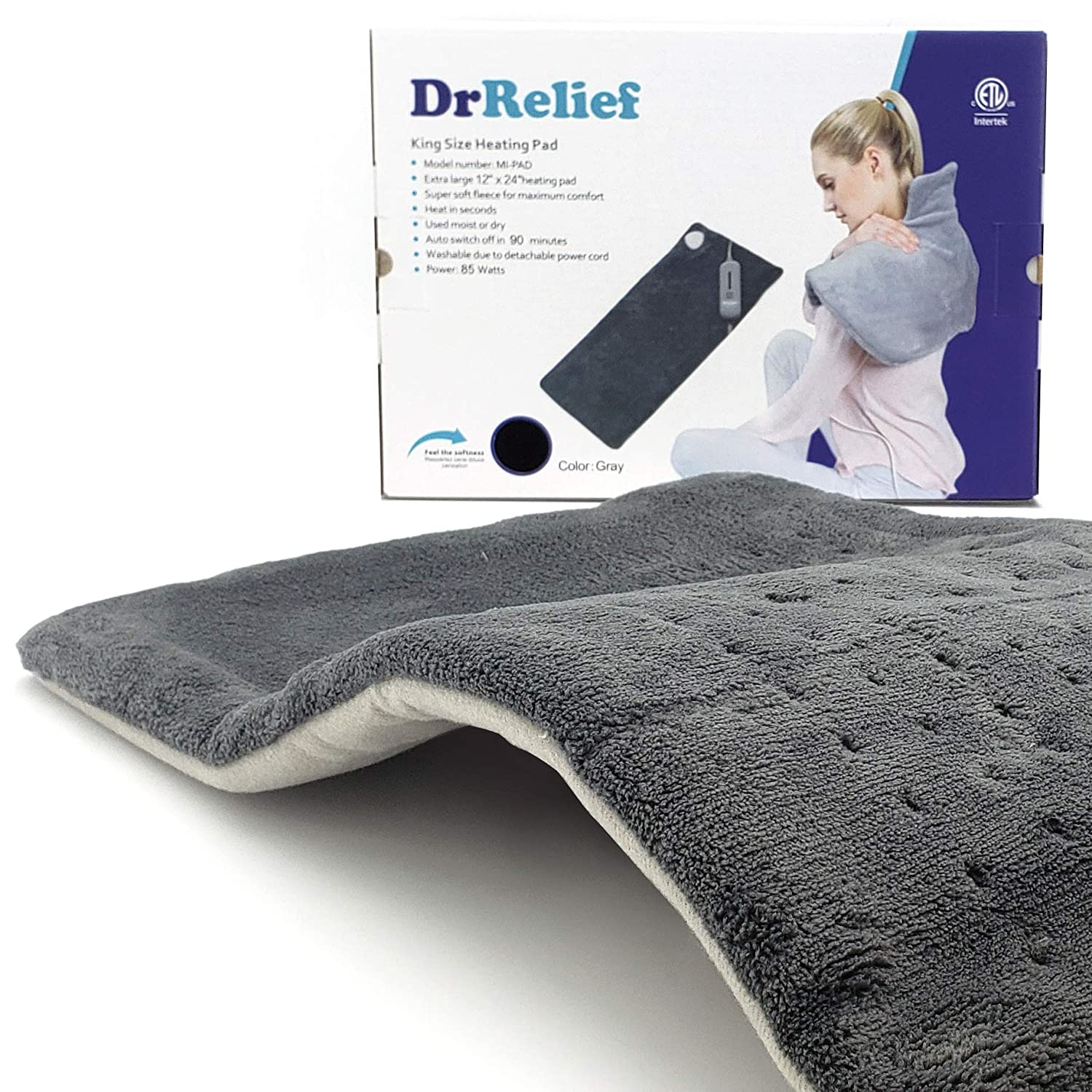 "King Size Large Heating Pad, 90 Minutes Auto Off for Back Pain, Temperature Settings, Super Soft Micro Plush, Moist or Dry Therapeutic Option, 12"" x 24"""