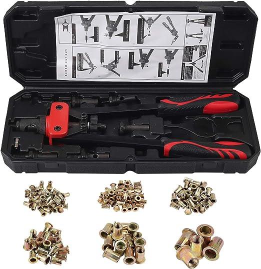 ESYNiC 14 Riveteuse Manuelle avec 7 Broches M3 M4 M5 M6 M8 M10 M12 Pistolet /à Rivets /à Double Poign/ée avec Pistolet /à Main /à Levier Push Pull avec /Écrous 165PZ pour R/éparation Mobile Automatique