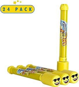 Toyrifik 24 Pack Emoji Blaster Water Guns- Bulk Pack Water Shooters for Summer Party Favor or Activity Fun Gun for Kids- Water Gun Bundle Pack