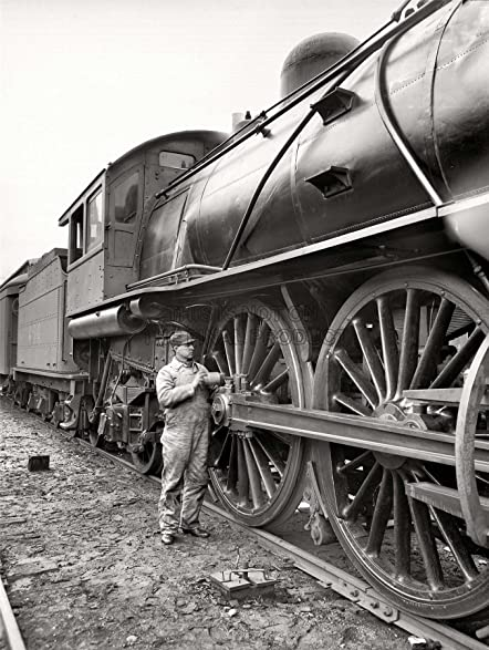 Photograph black white train rail worker fix fine art print poster 30x40cm cc1466