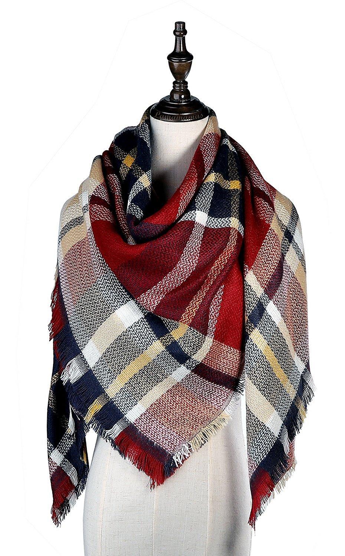 Lamamamas Plaid Blanket Scarf Warm Cozy Tartan Wrap Shawl Winter Scarfs for Women (Red)