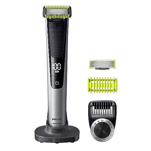 Philips OneBlade Pro Cara y Cuerpo QP6620 30 Recortador de Barba Recargable con Peine Guía para el Cuerpo Peine de Precisión de 14 Longitudes Base de Carga y Funda de Viaje