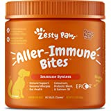 Zesty Paws Allergy Immune Supplement for Dogs - with Omega 3 Wild Alaskan Salmon Fish Oil & EpiCor + Digestive Prebiotics & P