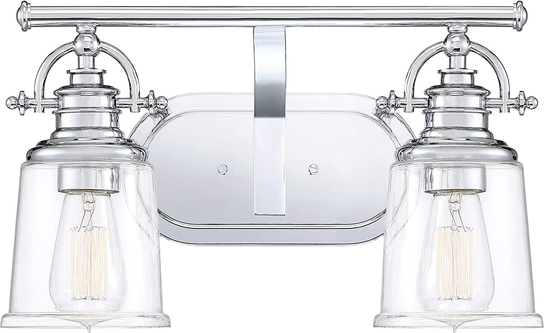 Quoizel Grt8602c Grant Vanity Bath Lighting 2 Light 200 Watts Polished Chrome 10 H X 16 W