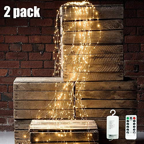 Starry String Lights, 2Pcs Waterproof Decorative Twinkle Fairy Lights, 8 Modes with 10 Strands 250 LEDs Battery Operated Branch Waterfall Lights with Remote Timer for Garden Outdoor Christmas Tree