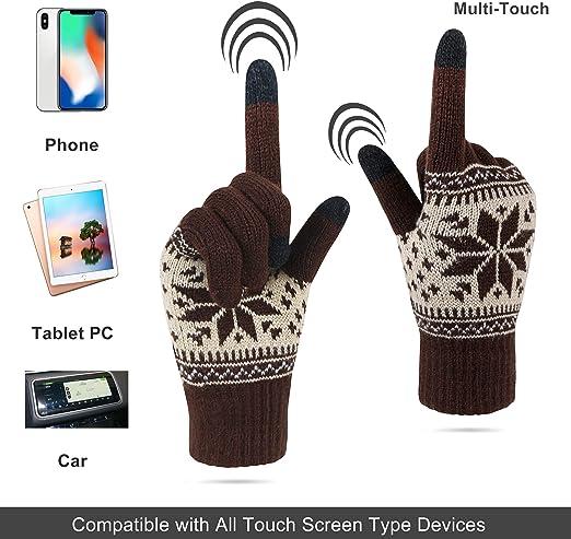 avec caoutchouc antid/érapant pour hommes ou femmes poignets /élastiques compatibles /écran tactile VENI MASEE Gants dhiver chauds en maille