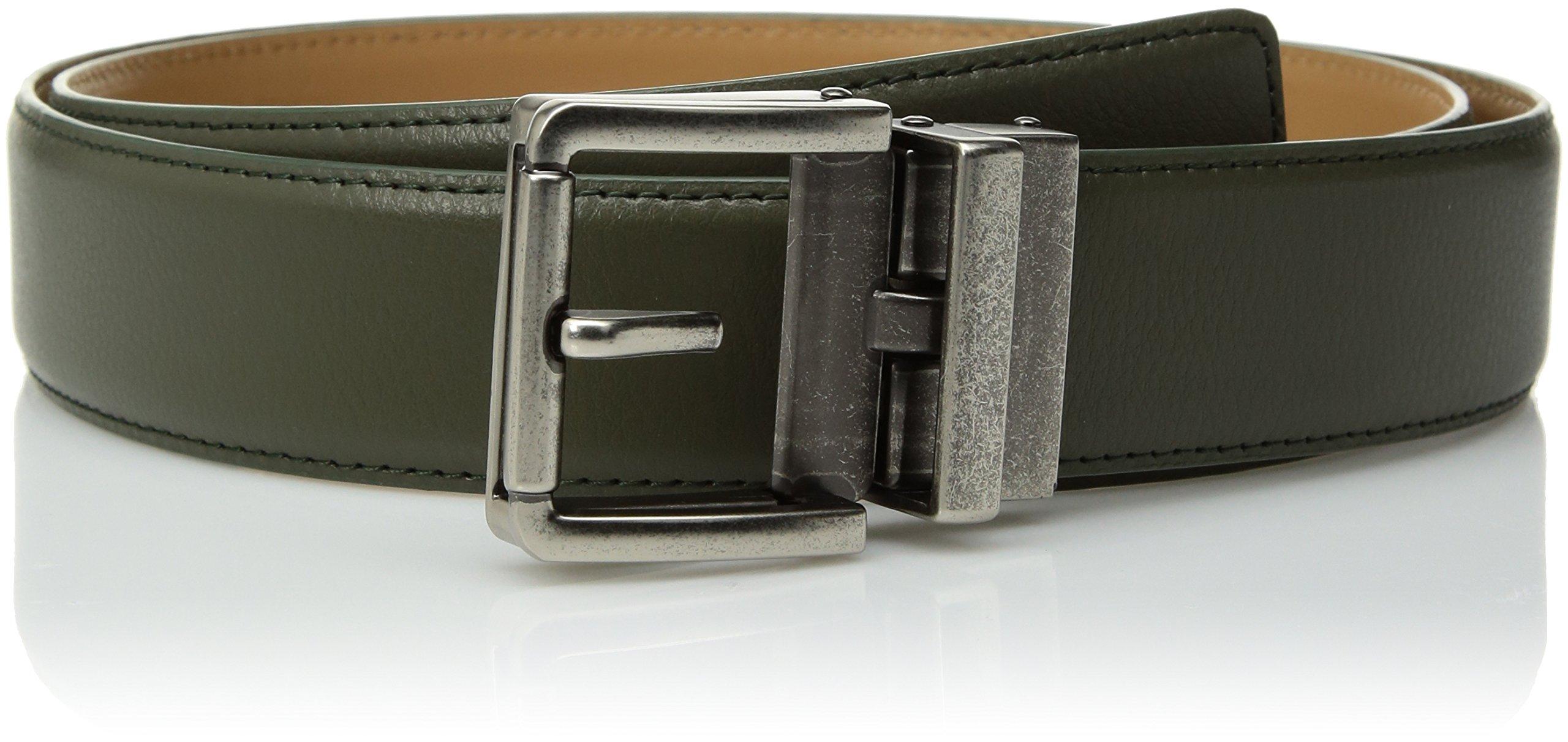 Comfort Click Men's Adjustable Perfect Fit Ratchet Belt-As Seen on TV, Olive/Tarnished Gunmetal-Pebble, ONE SIZE