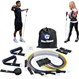 GEEZ®️ FITNESS Resistance Bands Set, Exercise Bands for women & men - 5 Multi Colour Bands, Handles, Ankle Straps, Non-Slip Door Anchor and Carry Bag, ideal travel fitness