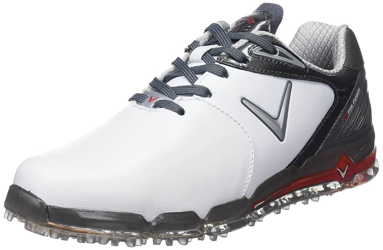 Callaway Golf 2018メンズXシリーズXfer Fusion Spikelessゴルフシューズ 11 UK/ EUR 46 / US 12 White/Grey/Crimson B078W7JYMC