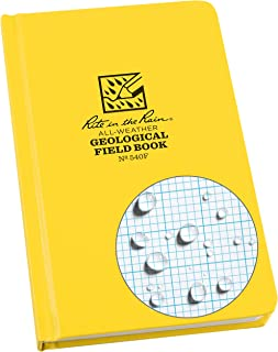 "product image for Rite In The Rain Weatherproof Hard Cover Notebook, 4 3/4"" x 7 1/2"", Yellow Cover, Geological Pattern (No. 540F)"