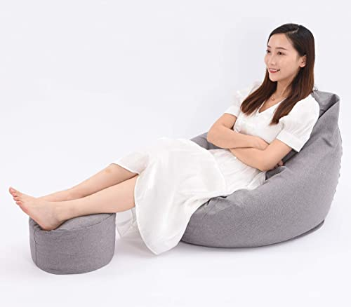 Double Layer Bean Bag Chair Cover Beanless Bag Recliner Washable Memory Foam Bag Plush Animal Stuffed Storage Footstool Seat Sofa Sack Lounge Chair Lined Beanbag Cover Only