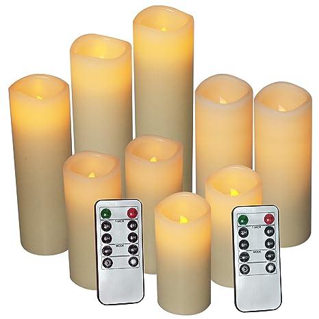 Amazon.com: Velas LED pilar sin llama con temporizador a ...
