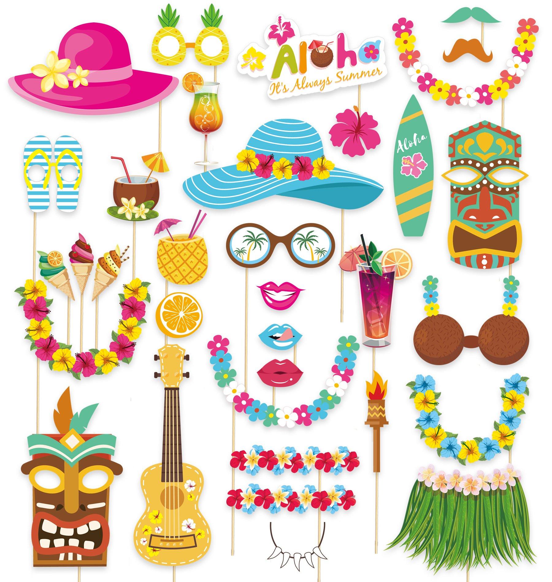 65Ct Luau Hawaiian Photo Booth Props - Beach Tropical Tiki Summer Party Decorations Supplies