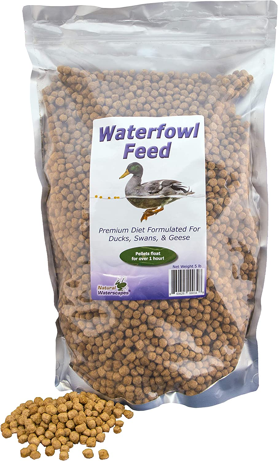 Natural Waterscapes Waterfowl Feed | Floating Pellets for Duck, Swan, Goose | 5 lb Resealable Bag | Use for Wild Duck, Pet Duck