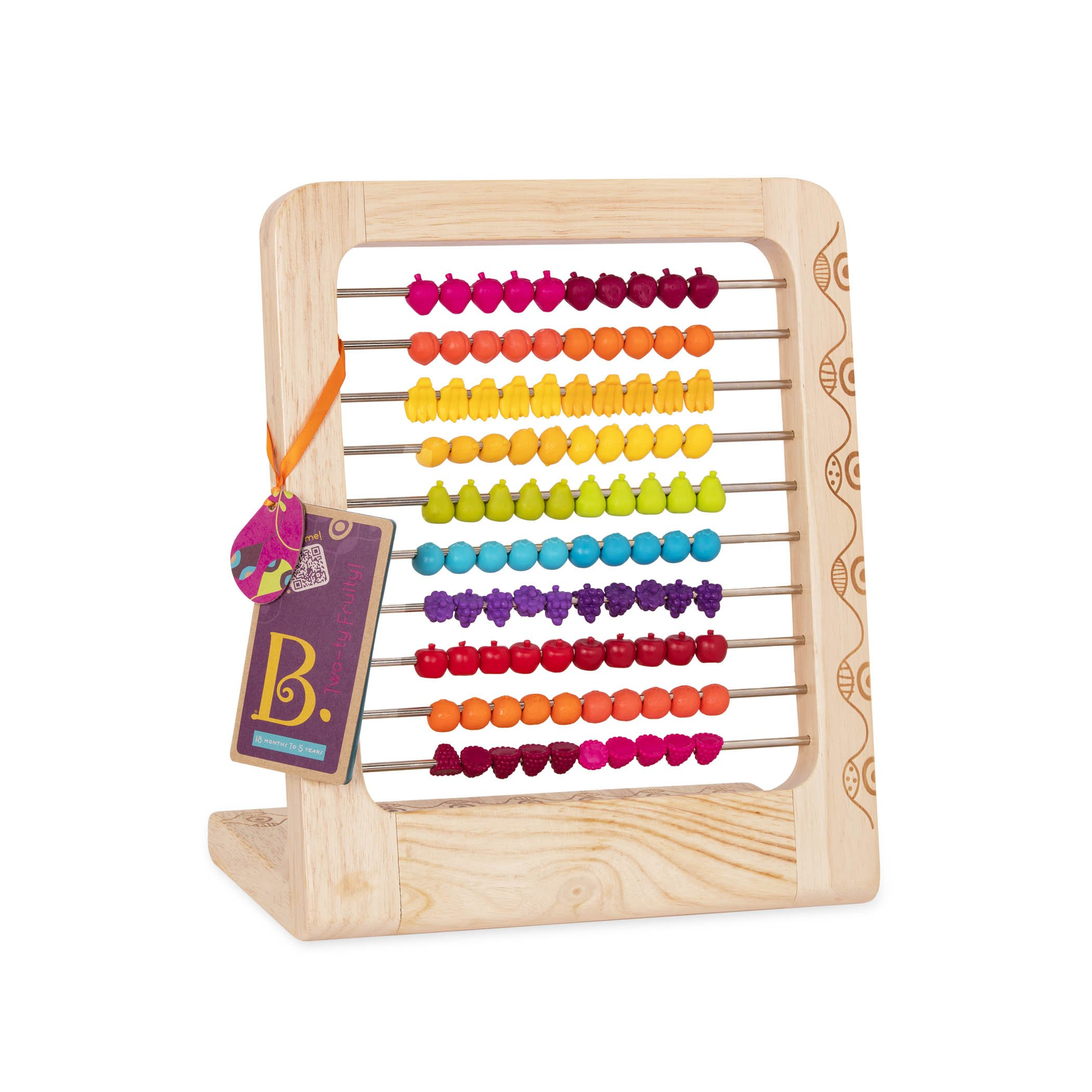B. toys - Two-ty Fruity! Wooden Abacus Toy - Classic Wooden Math Game Toy for Early Childhood Education and Development with 100 Fruit Beads