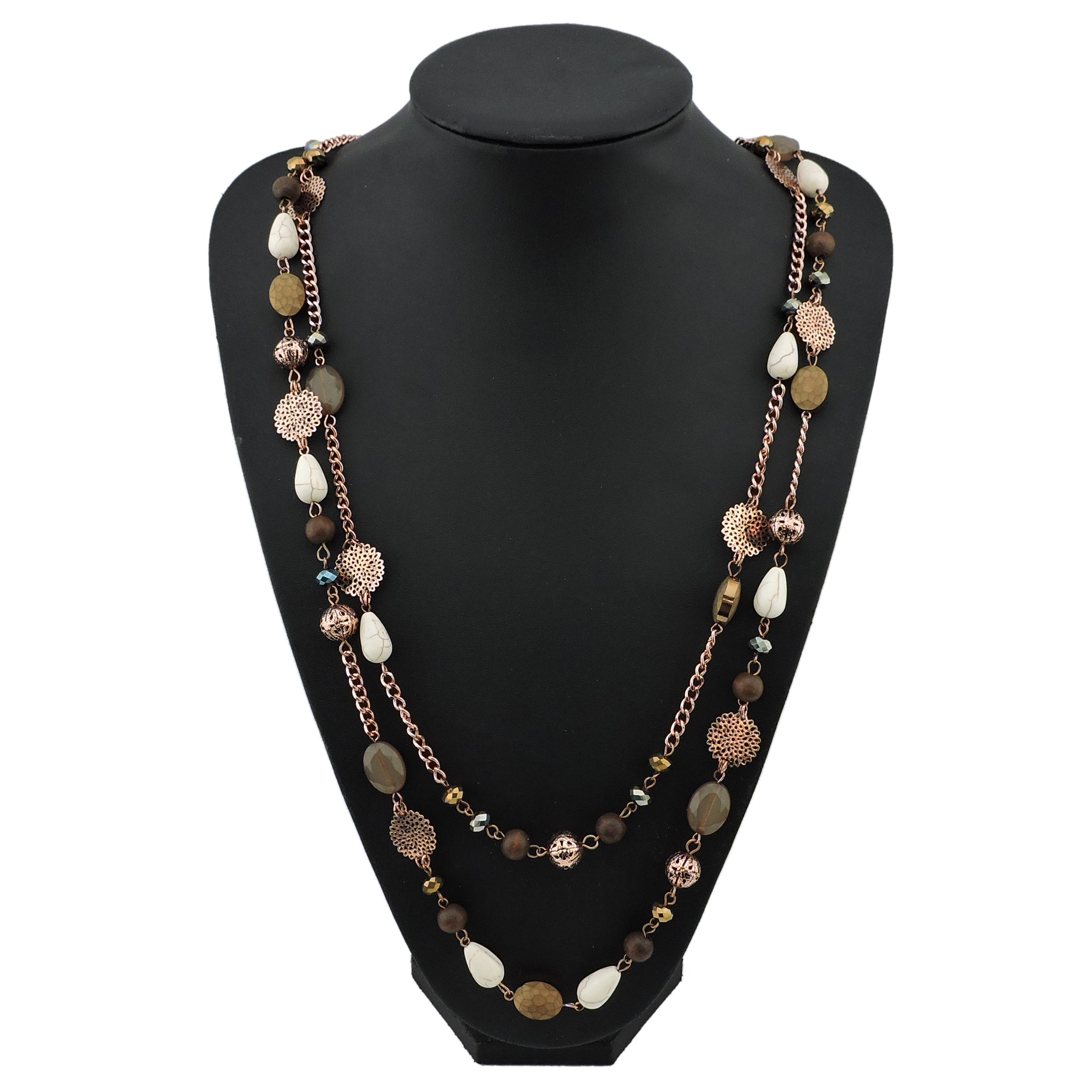 BOCAR 14K Gold Plated Link Chain 2 Layer Crystal Wood Acrylic Colorful Women Party Long Necklace Gift (NK-10084-brown)